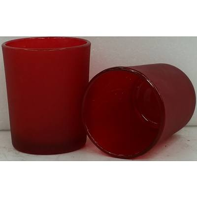 Red Glass Tea Light Holders - Lot of 19 - New