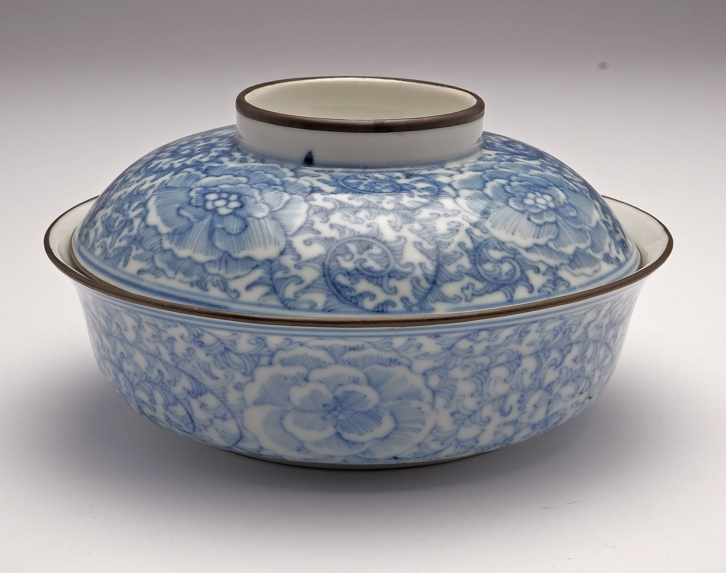 'Chinese Blue de Hue Metal Mounted Peony Pattern Dish and Cover for the Vietnamese Market, Late 19th Century'