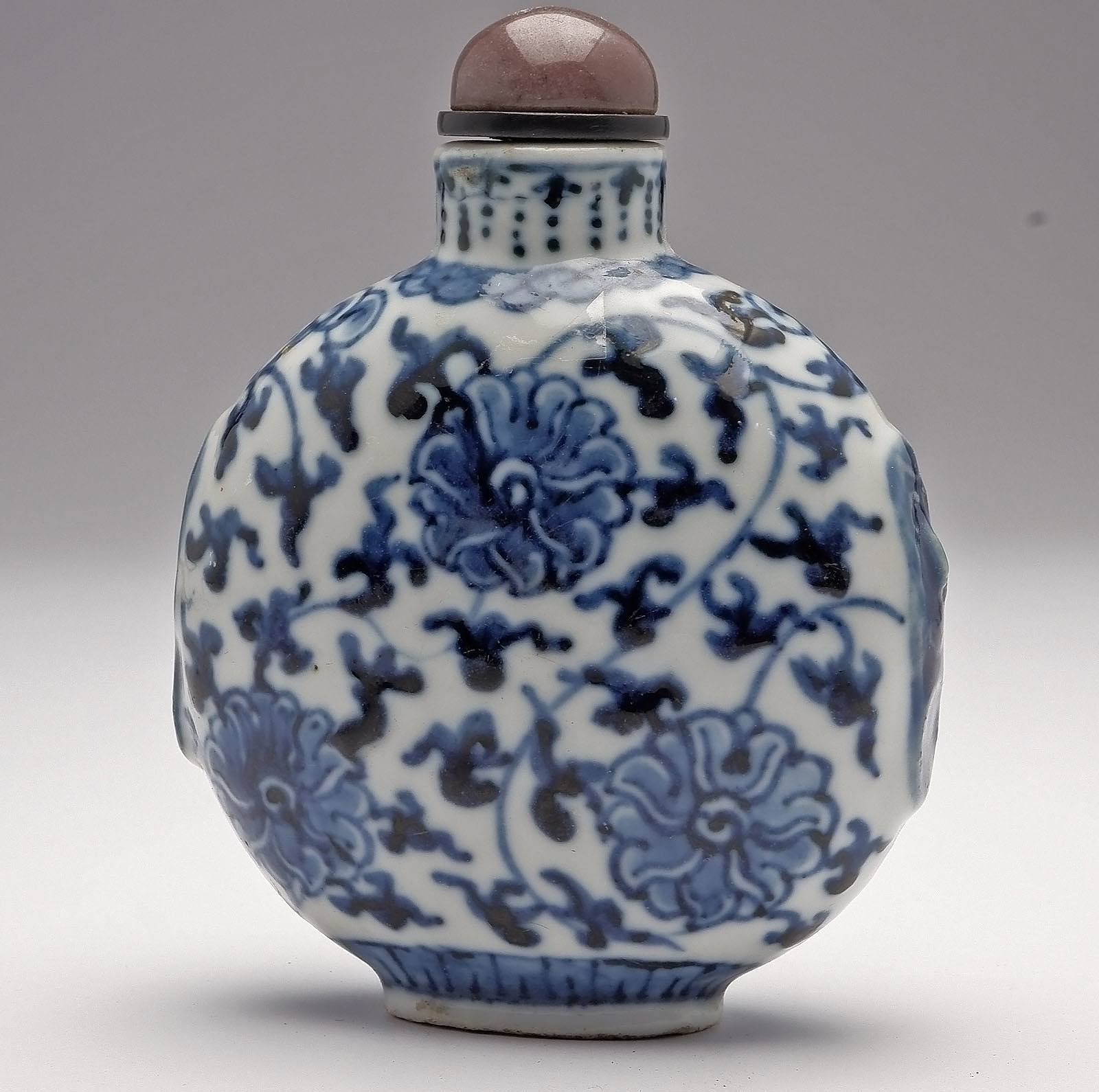 'Chinese Blue and White Lotus Pattern Snuff Bottle, Apocryphal Qianlong Mark, Late Qing'