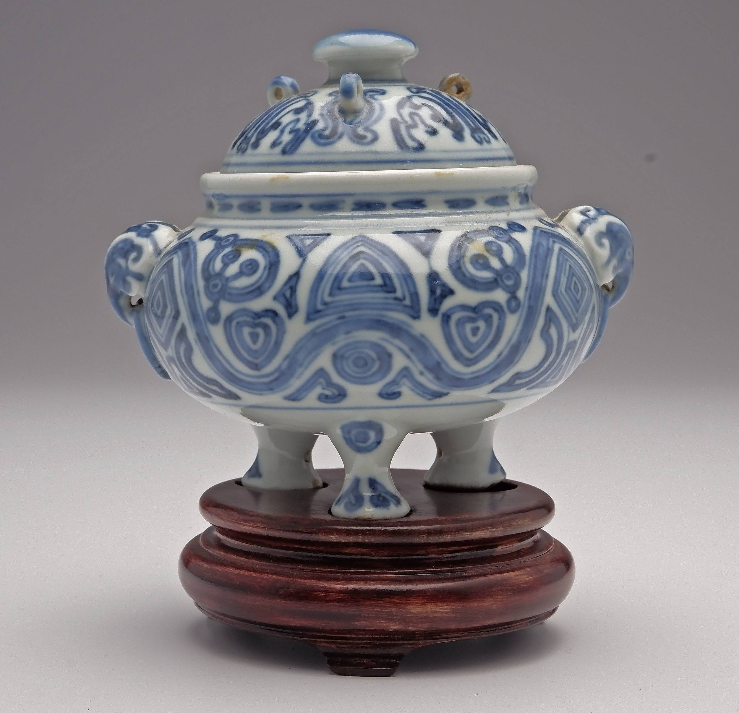 'Chinese Blue and White Tripod Censer with Archaistic Design, Apocryphal Ming Mark, Late Qing'