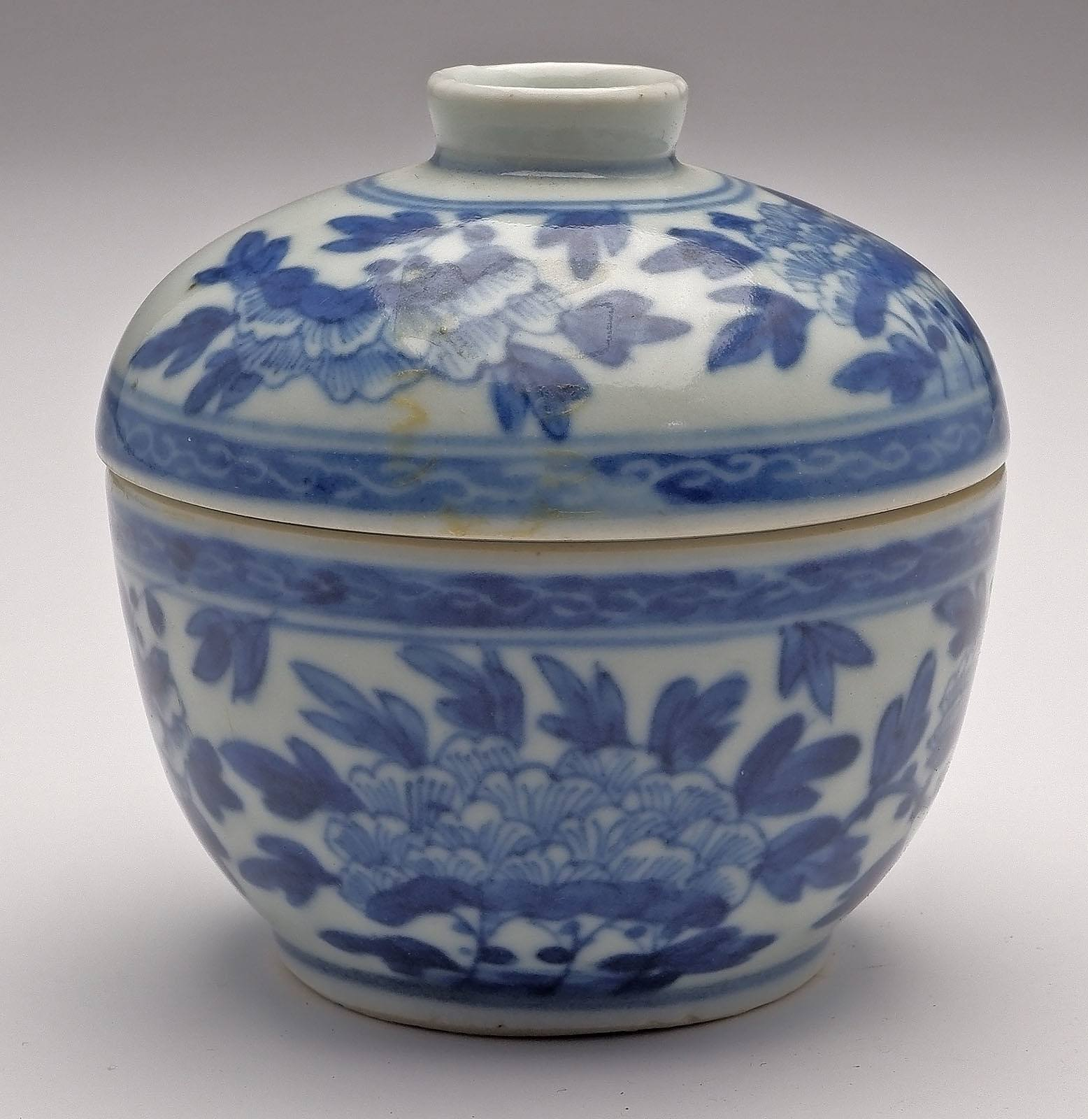 'Chinese Blue and White Peony Pattern Tea Bowl and Cover, Late Qing'