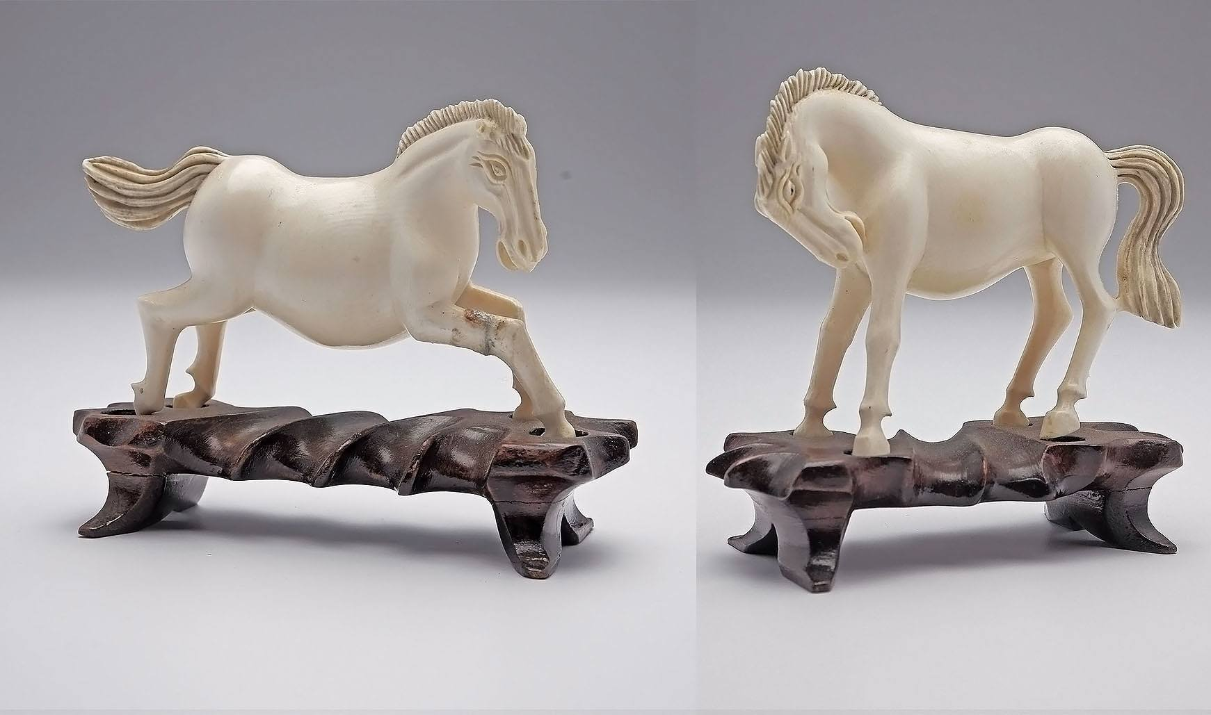 'Pair of Vintage Chinese Ivory Horses on Carved Hardwood Stands'
