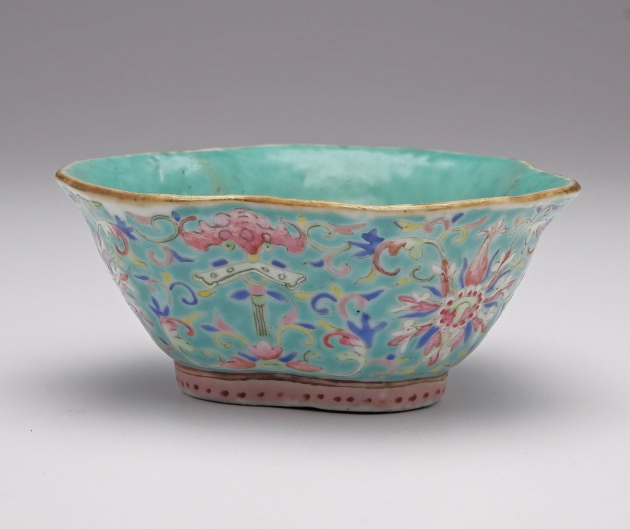'Chinese Turquoise Ground Famille Rose Bowl Decorated with Lotus and Bats, Late 19th Century'