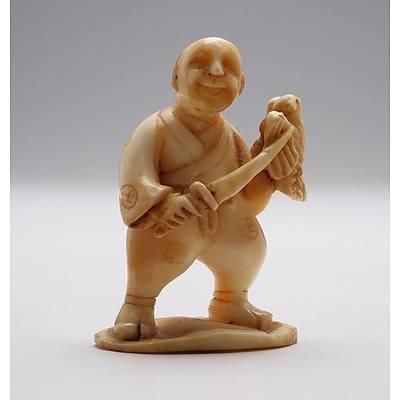 Antique Japanese Ivory Netsuke of a Falconer