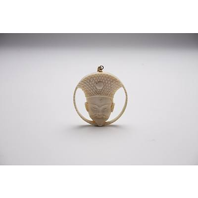 Japanese Carved Ivory Pendant Early to Mid 20th Century