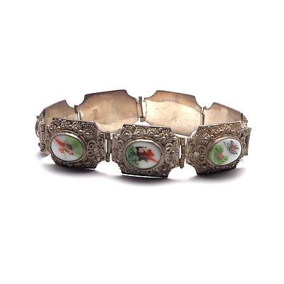 Vintage Chinese Silver and Painted Porcelain Bracelet