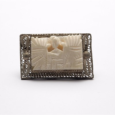 Asian Ivory and Metal Filigree Brooch, Early to Mid 20th Century