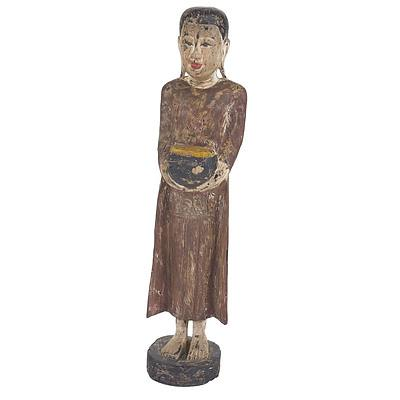 Carved and Polychromed Wood Figure of Buddha, 20th Century