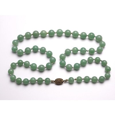 Chinese Hardstone Bead Necklace with Silver Filigree Clasp