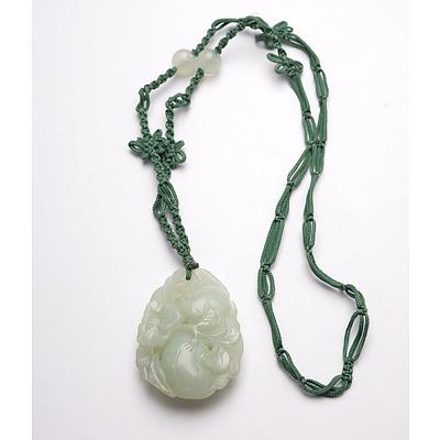 Chinese Carved Jade and Hardstone Flowering Peach Pendant, Late 20th Century