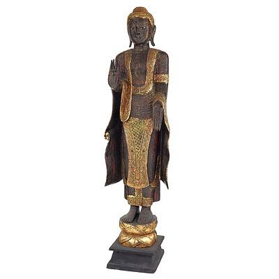 Near Life Size Burmese Heavily Lacquered and Carved Wood Standing Buddha on Lotus Base, Late 20th Century