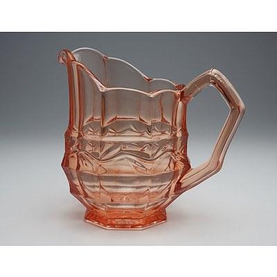 Moulded Retro Pink Depression Glass Pitcher