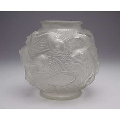 Czech Relief Moulded Fish Motif Glass Vase Circa 1930s