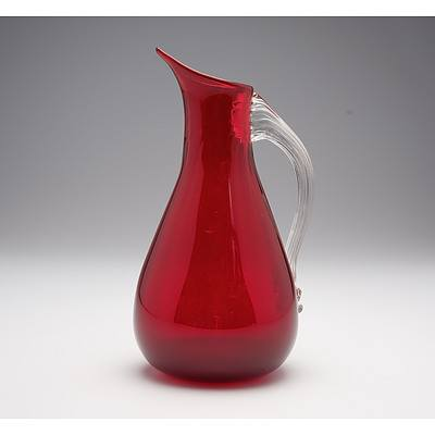 Whitefriars Ruby Red Glass Jug