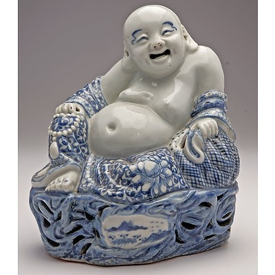 Rare Chinese Blue and White Buddha Budai, Republic Period
