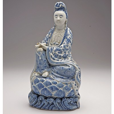 Rare Chinese Blue and White Figure of Guanyin, Wei Hong Tai Mark, Republic Period