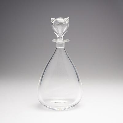 Vintage Orrefors Glass Decanter with Cat Formed Stopper, Designed by Sven Palmqvis
