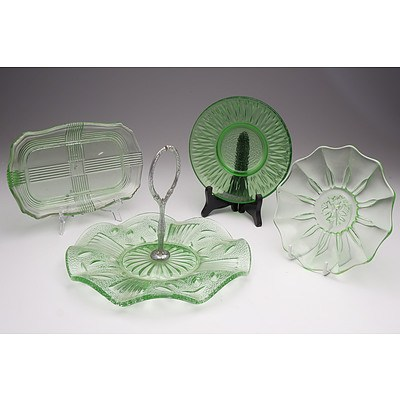 Green Depression Glass Cake Plate and Three Depression Glass Plates