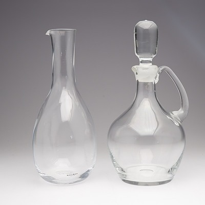 Kosta Boda Crystal Wine Carafe and Another Decanter