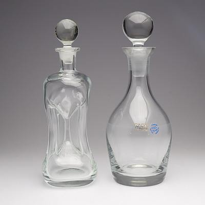 Polish Krosno Crystal Decanter and Another Crystal Decanter