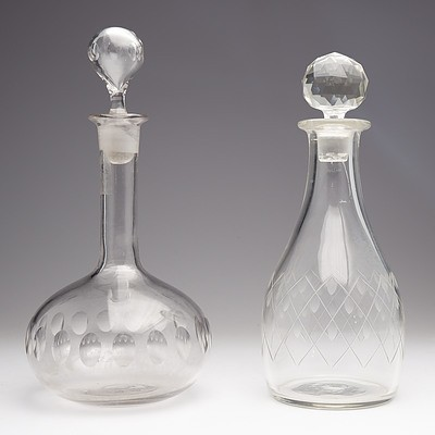 Two Antique Cut Crystal Decanters