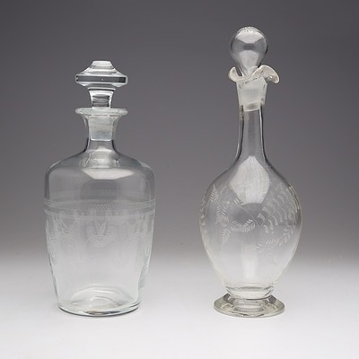 Georgian Etched Glass Decanter and Another Victorian Etched Decanter