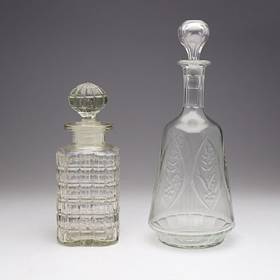 Victorian Cut Crystal Decanter and Another Moulded Glass Decanter