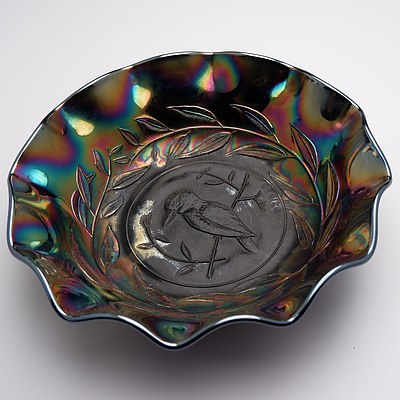 Australian Carnival Glass Kingfisher Amethyst Nappy Bowl, RD4184