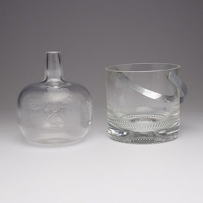 Kosta Ice Bucket and a Acid Etched Kosta Vase