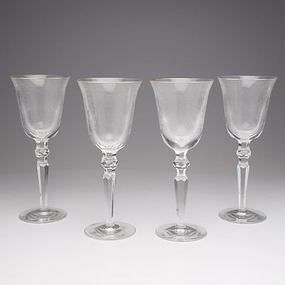 Four Waterford Tall Stem Crystal Wine Glasses