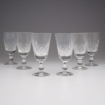 Six Stuart Crystal Wine Goblets