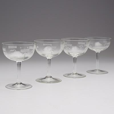 Four Stuart Etched Comport Glasses