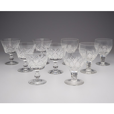 Nine Stuart Crystal Wine Glasses
