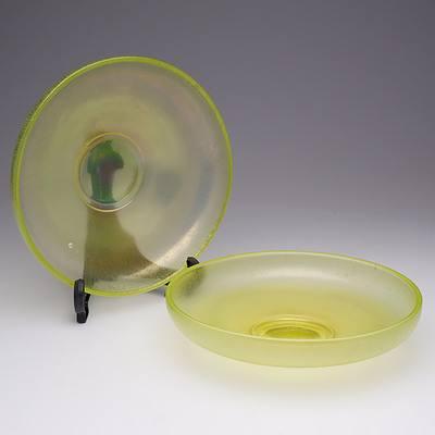 Pair of WMF Ikora Uranium Glass Bowls