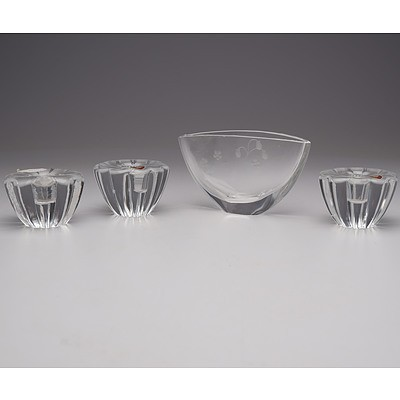 Orrefors Crystal Vase and Three Orrefors Crystal Candle Sticks