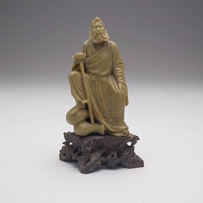 Chinese Hardstone Figure of a Fisherman and a Sage