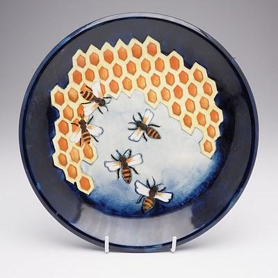 Moorcroft Honeycomb Plate, Designed by Philip Richardson, Circa 1987