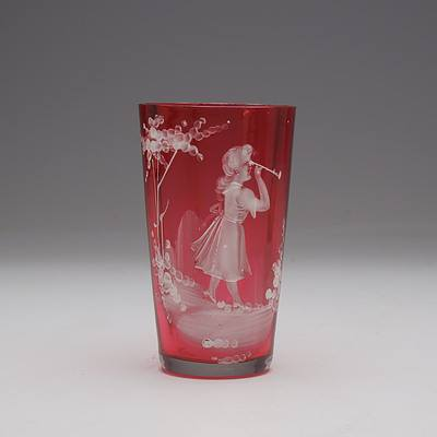 Victorian Ruby Mary Gregory Glass Tumbler