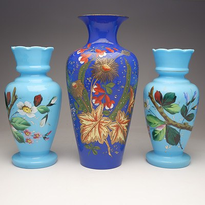 Three Antique Enamelled Glass Mantle Vases