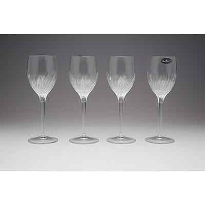 Set of Four Crystal Luigi Bormioli Wine Goblets