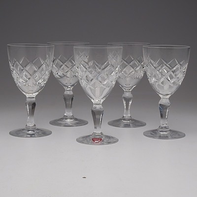 Five Orrefors Cut Crystal Port Glasses