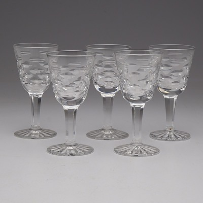 Five Waterford Cut Crystal Port Glasses