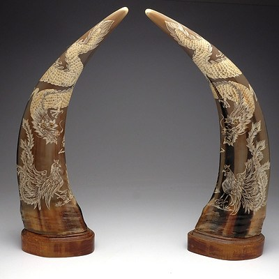 Pair Chinese Buffalo Horns with Carved Four Claw Dragon and Rooster