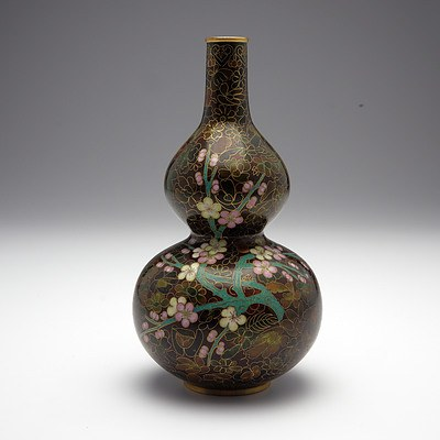 Chinese Cloisonne Gourd Vase, Modern