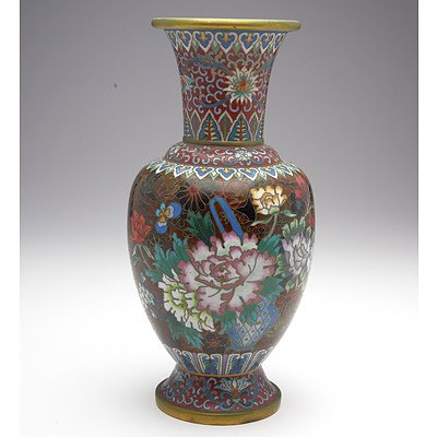 Chinese Cloisonne Vase with Peony Motif, Modern