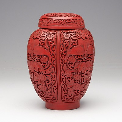 Chinese Carved Cinnabar Lacquer Jar, 20th Century