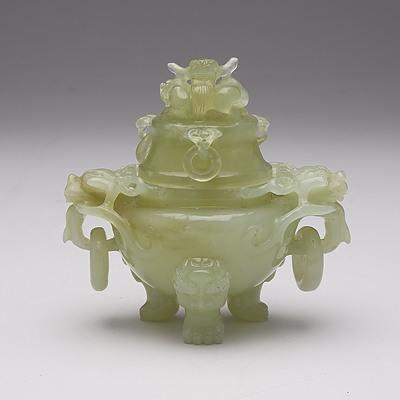 Chinese Carved Serpentine Censer, 20th Century