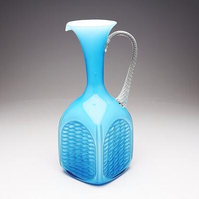 Vintage Italian Opalina Fiorenta Blue Art Glass Decanter