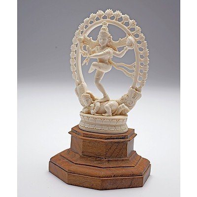 Indian Carved Ivory Dancing Shiva, Early to Mid 20th Century