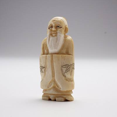 Small Japanese Carved Ivory Okimono of a Sage